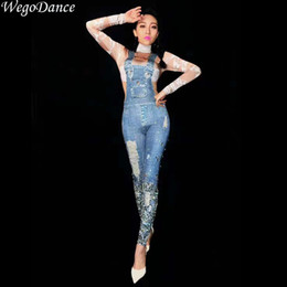 singer jumpsuits Coupons - new Women Sexy Stage Jumpsuit denim print Glisten Bodysuit Dance Costume Birthday Celebrate Singer Dance Evening Bodysuit