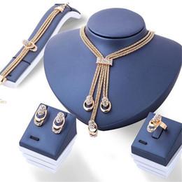 Jade ring set online-4 teile / satz Kristall Quaste Halskette Ring Ohrringe Set Frauen Braut Hochzeit Schmuck-Set Trendy Luxus Ohrstecker Hochzeit Halskette Set