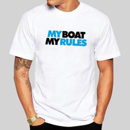 Bootshals-baumwollt-shirt online-Creative-Sign My Boat meine Regeln Grafik-Weiß Kurzarm T-Shirt 2019 Art und Weise Baumwolle mit Rundhalsausschnitt Mann-T-Shirt