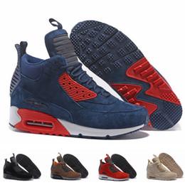 Schneeregen stiefel online-Wildleder 90 MID Herren Laufschuhe Classic 90er Sneakerboot Schwarz Grün Sport Regen Schnee Winterstiefel Herren Sneakers Designer Stiefel Größe 12