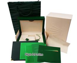 деревянные ящики для подарков Скидка Новый Классический Зеленый Деревянный Оригинальный Часы Коробка Сертификат Бумажник Зеленый Кожаный Подарочный Бумажный Пакет Daydate Sub 116613 Rollie Puretime 5Ab2