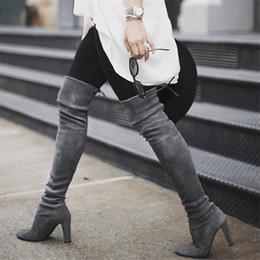 sexy knie hohe stiefel niedrige ferse Rabatt 2019 neue Frauen über Knie-Stiefel-Schuhe schnüren sich oben weibliche Schenkel-hohe Stiefel Damen Herbst-Winter-reizvolle niedrige Blockabsatz Schuhe in Übergrößen