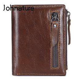 bolsa de homem pequeno Desconto Johnature Multi-card couro genuíno Homens Carteiras 2019 New Casual Couro Coin Purse Duplo Zipper carteira pequena masculinos curtos bolsas