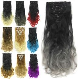 mehrfarbige haare gefärbt Rabatt 24-Zoll-Multi-Farbe Optionaler Mechanismus Hochtemperatur-Draht kann gefärbt werden Haarverlängerung Farbverlauf Kunsthaar Langes lockiges Haar