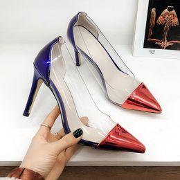 Atacado PVC Transparente Mulheres Bombas Sexy Stiletto Heel Patent Leather Apontou Toe de Moda de Salto Alto Sapatos para As Mulheres Escritório Sapatos de Vestido de