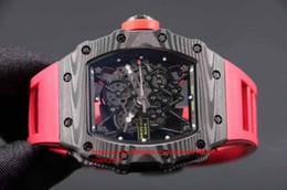 relógio digital personalizado Desconto Mens Superlativo Montanhismo personalizado RM35-02 camada de fibra de carbono Preto Japonês Miyota 9015 movimento Automático De Borracha faixa vermelha relógios