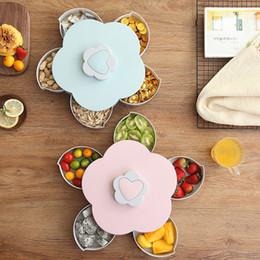 nussteller Rabatt Kreative Blütenblatt Obstteller Süßigkeiten Aufbewahrungsbox 5 Grids Nuts Snack Tablett Rotierenden Blumen Lebensmittel Geschenkbox für Party Hochzeit