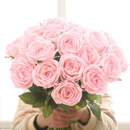 2019 planta de rosa verde Flor rosa artificial mano hidratante planta de rosa decoración de la boda en casa flor falsa verde plantación al por mayor rebajas planta de rosa verde