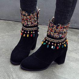 2019 botas étnicas de mujer 2019 Fashion Runway Thick Sling Zipper Sock Boots Ethnic 4 Color Talón Muslo Punta alta Mujer Bota rebajas botas étnicas de mujer