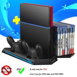 jogos de joystick Desconto PS4 suporte vertical ventilador de refrigeração play station 4 jogos suporte de armazenamento joystick estação de carregamento para sony playstation 4