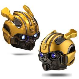 schneckentelefon Rabatt Bumblebee Helm Bluetooth Lautsprecher FM Radio USB MP3 TF Smart Subwoofer Blue Tooth 5.0 Tragbare Mini Wireless Stereo Lautsprecher