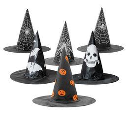 Traje do assistente dos miúdos on-line-Costume Assistente Crânio Adulto Crianças Witch Hat Abóbora Aranha Morcego Web Impresso Hat Halloween Acessório Cap Party Decoration JK1909