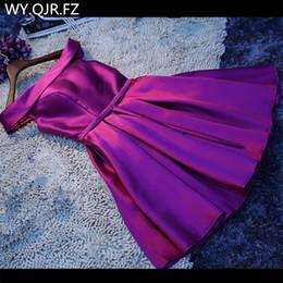 LBHS69Z # Barco de cuello Violeta con cordones Corta sarga Satén Tela Dama de honor Vestidos Novia Banquete de boda Vestido de brindis Vestido de fiesta desde fabricantes