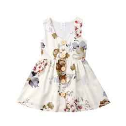 INS Bebê meninas vestido de Princesa vestido sem mangas verão tanque floral saia da criança botão de decoração para crianças festa desgaste presentes de aniversário 80-120 cm A3123 de