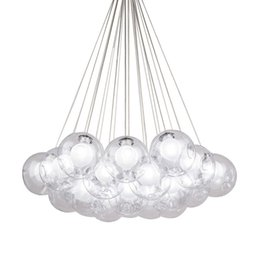 klare glas lampenschirme Rabatt Moderne Metall LED Pendelleuchten 1/3/7/13/19 Heads Clear Glass Ball Lampenschirm Hanglamp 110-220V E27 Schlafzimmer Pendelleuchte