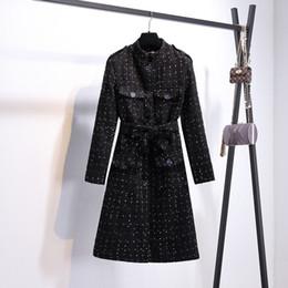 стойки для белых носителей Скидка Новая мода дизайн женская весна твидовый шерстяной черный с белыми точками стенд воротник средней длины vent jag пальто casacos