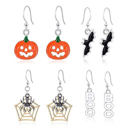 2019 brincos de morcego 4 estilos brinco de abóbora de halloween novo morcego aranha brincos de halloween crianças acessórios de jóias para meninas presente m349 brincos de morcego barato