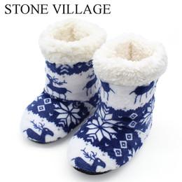 Zapatillas de piedra online-PUEBLO DE PIEDRA Invierno Lindo Estampados de animales Suave Felpa Zapatillas de casa Niñas Niños Zapatillas Piso Interior Niños Zapatos para niños
