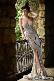 comprimentos de strass Desconto Custom Made New Beaded Vestidos de Noite de Luxo Jóias Strass Sheer Jewel Corset Sereia Até O Chão Tapete Vermelho Celebridade Vestidos