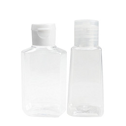 Garrafa transparente para animais de estimação on-line-Frascos descartáveis para desinfectar as mãos Pet Plástico Transparente Flip Over Liquid Soap Bottle Mini Maquiagem Portátil 60ml 0 6sx E19