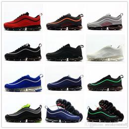 Zapatos de goma en ejecución online-2018 Nuevo 97 Kpu OG 97s Triple Negro Blanco Verde Metálico Plata Rojo Caucho Hombres Zapatillas de deporte Zapatillas de deporte con caja Tamaño 7-13