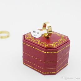 meninos do anel de casamento do ouro Desconto NOVAS Mulheres 18 K Ouro Amarelo CZ Conjuntos de Diamante Anel de Casamento 925 de Prata Rose banhado a ouro de aço inoxidável meninos meninas casais anéis com caixa