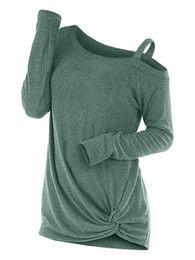 Spalla a maniche lunghe tagliato fuori le parti superiori online-Wipalo moda maglione annodato a molla annodato collo manica lunga ritagliato maglione pullover solido abbigliamento donna una spalla casual top