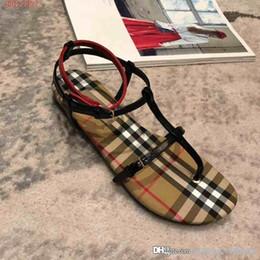 Chaussures américaines talons en Ligne-2019 nouvelles sandales à talons hauts pour femmes de style européen et américain Plaid pour femmes, pleines de sandales plates pour femmes