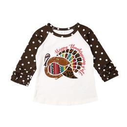 blusa de malha de manga comprida Desconto Ação de Graças bebê Meninas T-shirts de manga comprida Ruffles Turquia Carta Imprimir crianças Algodão Blusa roupa do outono 4 estilos LA136