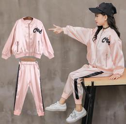 trajes deportivos coreanos Rebajas Niñas otoño 2019 nueva versión coreana de la moda femenina big boy primavera y otoño traje deportivo de dos piezas 12-15 años envío gratis