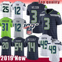 2019 ventiladores 12 Seattle 3 Russell Wilson Seahawk Jersey 49 Shaquem Griffin 16 Tyler Lockett 12 Ventilador 20 Rashaad Penny 54 Bobby Wagner 31 Kam Chancellor ventiladores 12 barato