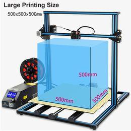 лазерное оптическое волокно Скидка 3D-принтер для широкоформатной печати Creality CR-10S5 Размер 500 * 500 * 500мм Semi DIY 3D принтер Kit Алюминиевый подогреваемый кровать Нить Ограждённая