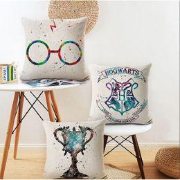 Fundas de almohada al por mayor online-Venta al por mayor de Harry Potter funda de almohada de algodón de lino funda de cojín funda de almohada decorativa para sofá coche Hufflepuff fundas de almohada cuadrada 45 * 45 cm