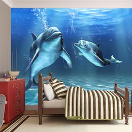 Casa de delfines online-Papel tapiz mural grande Papel pintado de seda personalizado delfín papel tapiz subacuático para niños dormitorio pared fondo bebé patio casa decoración de la pared