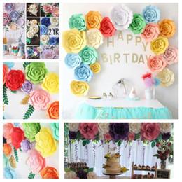 Decoração de parede de papel de flores on-line-Novo 20 cm 30 cm 40 cm DIY flores de papel de fundo decoração da parede decoração do casamento decoração do partido do dia dos namorados decoração do quartoT2I5109