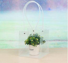 2019 boutique de bolsa de regalo Bolsas cuadradas transparentes con PVC cuerda Flor Regalo Embalaje Compras Boutique Portador Suave PVC Mango Pounch EEA156 boutique de bolsa de regalo baratos