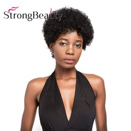 Homens de cabelo curly curly on-line-100% perucas de cabelo humano para mulheres negras homens afro-americanos kinky curly preto peruca curta