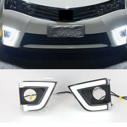 Corolla drl online-2x Car Auto LED blanco diurno luz antiniebla DRL cubierta de la lámpara para Toyota Corolla 2014-15