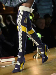 33ea6eaa7d27c8 Sexy Patchwork Damen Oberschenkel Hohe Stiefel Designer Spitze Zehen High  Heels Pumps Schnüren Lange Motorrad Booties Dame Samt Über Das Knie Stiefel