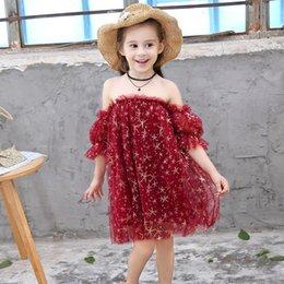 Mangas de ursinho de renda vermelha on-line-Meninas vestidos de praia do feriado vestido de Princesa crianças verão estrela prints off-ombro manga sopro malha chiffon lace vermelho one-piece
