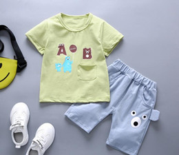 girl kids t shirt design Coupons - Little Kids Sets 1-3T Kids T-shirt And Short Pants 2Pcs sets Baby Boys Girls 95% Cotton Pattern Design Printing Style Summer Sets hf60406