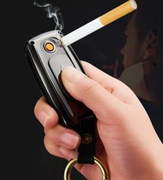 Электронная прикуриватель онлайн-Модные ключи от машины в форме USB зажигалка аккумуляторная ветрозащитная электронная сигарета брелок зажигалки с кабелем для курения инструмент продажа