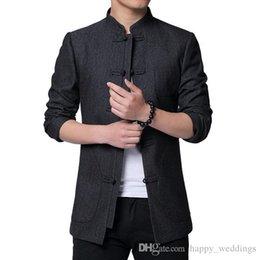 Chinesisches gewebe für männer online-Hohe Qualität chinesische Tunika Anzug 2019 Frühjahr neue Art und Weise Tang-Jacke Men Cotton bequemer Stoff Herren Jacken und Mäntel