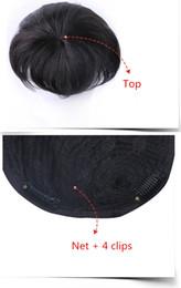 toupee da parte dianteira do laço Desconto Toupee Hetero Cabelo Humano Moda Natural Preto Top Curto Peruca Homem com Clips ACL019