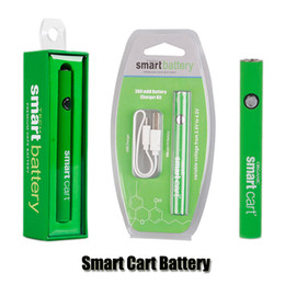 Scatola vape intelligente online-SmartCart Battery Kit Green Smart Carts 380mAh Preriscaldare VV Caricabatterie USB inferiore di tensione variabile Caricabatterie Vape Battery Pack per 510 cartucce