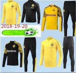 2019 calcio sportivo giacca 2019 Borussia Dortmund tuta sportiva Set da uomo Kit manica lunga tuta 18/19/20 da allenamento pantaloni da calcio Borussia Aubameyang Reus abbigliamento sportivo calcio sportivo giacca economici