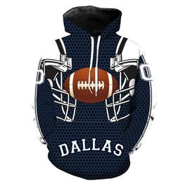 Sudaderas 6xl online-Dallas Cowboy Sudaderas con capucha 3D Nuevo equipo Impreso Sombrero Chaqueta de bolsillo Hombres de manga larga Sudaderas con capucha M-6XL