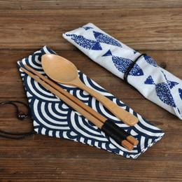 Bolsas de tela online-Bolsa de vajilla portátil china Palillos Cuchara Bolsa Paño y viento Cubiertos Almacenamiento Tie Line Cubiertos Palillos Set