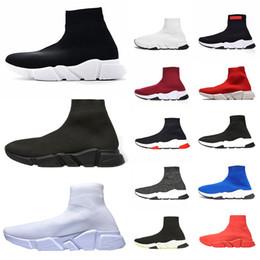 2019 ronaldo zapatos de fútbol Balenciaga Speed Trainer Calcetines Zapatos Moda Hombre Mujer Zapatillas Negro Blanco Azul para hombre Zapatos casuales Deportes Tamaño barato 36-45 al por mayor