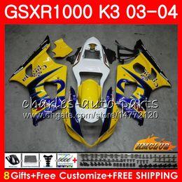 carenado gsxr amarillo Rebajas Marco para SUZUKI GSX-R1000 GSXR 1000 GSXR1000 03 04 Carrocería 15HC.9 Carrocería GSX R1000 K3 GSXR-1000 03 04 2003 2004 Amarillo kit de carenados CORONA
